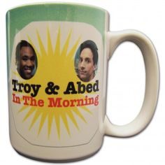 Troy and Abed in the Morning: these 2 characters have a fictional morning show in the library. No one films it, but they fully commit to it. This mug is their on-set prop.