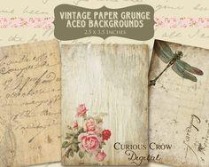 Papier Vintage Grunge Collage numérique par CuriousCrowDigital