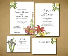 Wildflower Botanical Wedding Invitations Flower Invite DIY Printable Wedding Invitation Set of 4 Floral Wedding Invitation