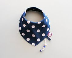 Baby Dribble  Drool Bandana bib Neck scarf Stylish absorbent accessory gift for baby, infant, toddler, children Blue polka dots on Etsy, $13.75