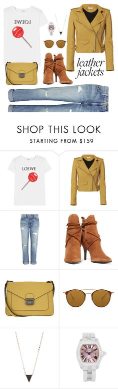 """Color leather jacket"" by tiwik ❤ liked on Polyvore featuring Loewe, IRO, Current/Elliott, Schutz, Longchamp, Ray-Ban, Lana, Cartier, Leather and leatherjackets"