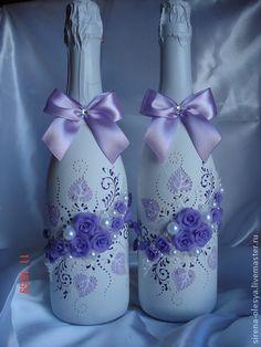 Оформление свадебного шампанского. Оформление праздничного шампанского в любой цветовой гамме. Цена указана за оформление одной бутылки.