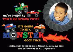 Monster Truck Photo Birthday Invitation