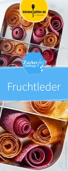 Colorful fruit rolls (fruit leather)- Bunte Fruchtrollen (Fruchtleder) Fruit leather is a good sugar-free alternative to sweet fruit gums. Freeze Dried Raspberries, Freeze Dried Fruit, Healthy Desserts, Easy Desserts, Lemon Layer Cakes, Fruit Gums, Fruit Salad, Dried Berries, Chocolate Oatmeal Cookies