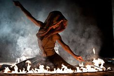 """Magma Fire Theater. Photo by """"Tzupi"""" Robert Haáb during a solo show of the late Linda Farkas in Bad Tatzmannsdorf, Austria 2012. Costume designed and made by Farkas x"""