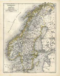 Sweden Norway and Finland Antique Map by AntiquePrintBoutique