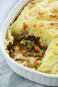 Because St. Patrick's Day is right around the corner, I thought sharing this oldie-but-goodie – my lightened up Shepherd's Pie, filled with lean ground beef,