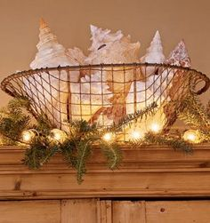 big conch shells in wire basket surrounded by Christmas lights & greenery. Via Coastal Living