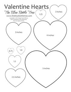 "Valentine Hearts Clip Art, in sizes ranging from 3/4"" to 5"", printing on either letter or A4 sized paper."