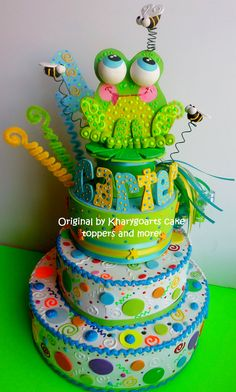 little frog birthday cake top from www.kharygoart.com