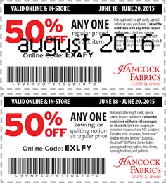 Hancock Fabrics Coupons Ends of Coupon Promo Codes MAY 2020 ! On in Baldwyn, crafting and fabrics based Hancock Mississippi. Free Printable Coupons, Free Printables, Hancock Fabrics, Hot, Free Printable