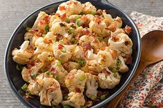 Adding crumbled bacon and creamy ranch dressing to roasted cauliflower is a sure way to win this cruciferous veggie some new fans in your house!