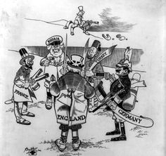 The political cartoon is from 1906, eight years before World War I began.  It is clear that many people at that time were already worried about the military build-up in the European countries.  The nations are shown at peace, not fighting.  But the figures are showing their weapons and looking nervously at each other.