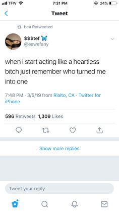 """my reason to be """"Mean"""" Real Life Quotes, Fact Quotes, Mood Quotes, Quotes To Live By, Twitter Quotes, Tweet Quotes, Relatable Tweets, Real Facts, Heartbroken Quotes"""