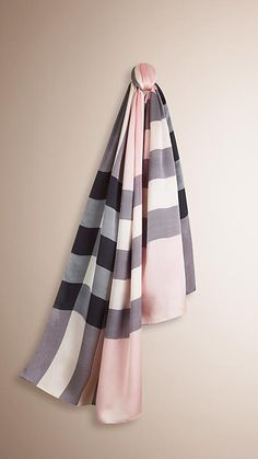 7f9ad9a7dc14 Ash rose Check Silk Satin Scarf - Image 1 Burberry Scarf
