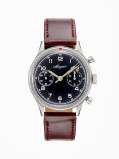 At a Glance     Designer   Vintage 1950's Breguet Type XX steel watch.      Miliary chronograph with two counters.     30 minute register at 3 o'clock and a subsidiary second hand register at 9 o'clock.     Manual movement, crown and round pushers.     Steel bracelet.