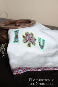 Купить Про клевер. I shamrok U . Ручной. - полотенце с вышивкой, полотенце для рук
