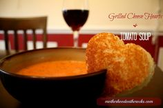 Valentine's Grilled Cheese and Tomato Soup