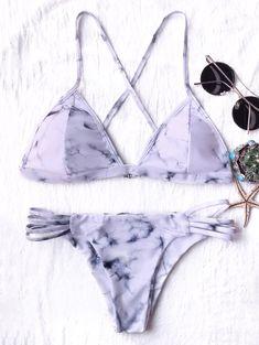 $12.99 Tie Dyed Thong Bikini LIGHT PURPLE: Bikinis | ZAFUL