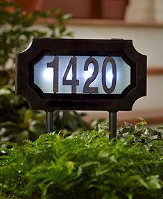 Solar Lighted Address Sign Stake Plaque House Number Marker LED Dusk to Dawn Solar House Numbers, Pergola, House Address, Door Numbers, Sign Lighting, Solar Lights, Solar Power, Bricks, Arredamento