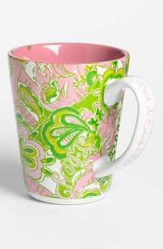 """Wise words on this mug's handle--""""Lead a colorful life."""""""