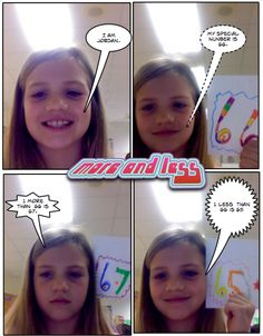 First Grade students use Comic Life to illustrate understanding of the concepts of More and Less. Computer Teacher, Computer Lab, First Grade, Grade 1, Math Comics, More And Less, Fun Math, Students, Concept