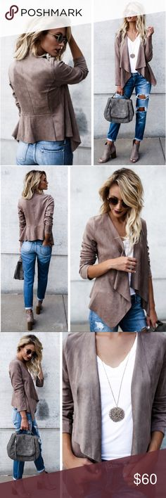 """Latté Faux Suede Jacket NWT Model is 5'7"""" and wears a size small Drapes lapels Stretch in wear 55% cotton 45% polyester Jackets & Coats"""