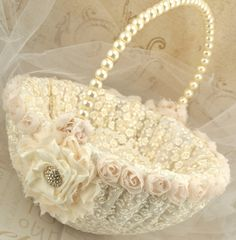 Flower Girl Basket - Bridal Basket in Ivory and Cream with Lace and Handmade Flowers- Vintage Touch