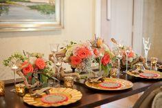 gold and peach table decor http://www.weddingchicks.com/2013/09/12/equestrian-wedding-templates/