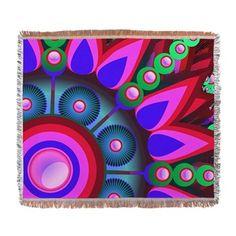 Psychedelic Flower Power Art Woven Blanket