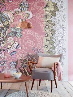 Estilo Shabby Chic Color Pallets Designer Wallpaper