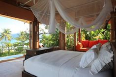 Luxury in Thailand - Soneva Kiri, Koh Kood Resort.I can picture myself tokin' and relaxin' in that bed ;