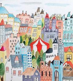 Mesto cirkus - ilustrácia obraz / originál maľba / k-bbf - SAShE. Urban People, Taj Mahal, Behance, Kids Rugs, The Originals, Gallery, Illustration, Projects, Handmade