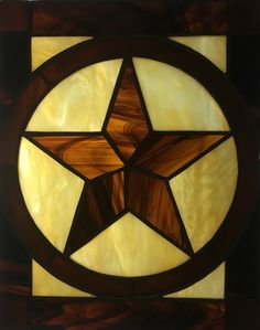Texas Star stained glass by Anna Dewell Designs Stained Glass Projects, Stained Glass Patterns, Stained Glass Art, Stained Glass Windows, Glass Artwork, Glass Wall Art, Rustic Backyard, Texas Star, Glass Ball