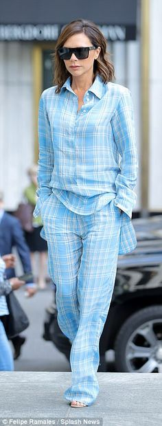 Matchy matchy: The checkered outfit matched a shirt with loose trousers...