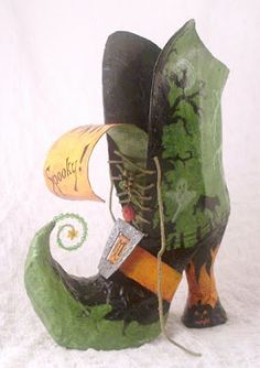 All Things Crafty: Papier Mache Halloween Witch Boot (no tutorial.. just cereal box, newspaper, and toilet tissue roll for heel)