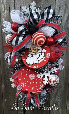 Red and Black Christmas Swag Santa Wreath Winter by BaBamWreaths
