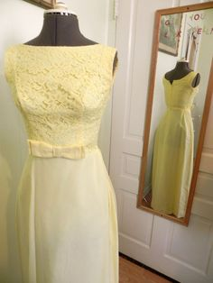Vintage 50s 60s Formal Yellow Party Dress With Lace by maybel57, $125.95