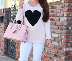 StylishPetite.com | Heart Sweater For Under $35