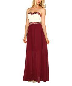 This Marineblu Maroon & Cream Jeweled Sweetheart Maxi Dress by Marineblu is perfect! #zulilyfinds