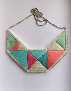Embroidered necklace geometric bib triangles in beautiful colors of mint greens and pinks bold design
