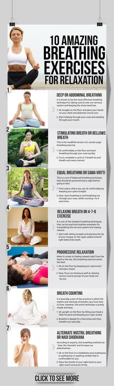 In such situations, breathing exercises can help us immensely in restoring ... Check out the top 10 breathing technique for relaxation that are ...: