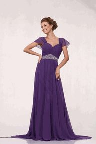 #3161CIN--Purple Bridesmaid Dress Cap Sleeve Pleated With Rhinestone (Size M to 4XL)