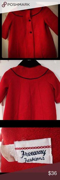 Classic red christmas princess coat 3T Adorable and classy. Freeway fashion 3T made in USA. Jackets & Coats Pea Coats