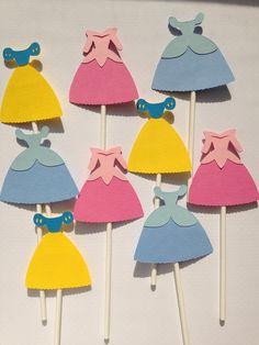 Set Of 12 Disney Princess Dress Cupcake Toppers,Arora, Snow White, Cinderella, Sleeping Beauty, Baby Shower, Princesses, Birthday Party.