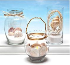 Fill vases with sand and shells for a simple but stylish beach-themed centerpiece or lantern decoration perfect for outdoor parties and beach weddings. Beach Themed Crafts, Sand Crafts, Beach Crafts, Summer Crafts, Summer Fun, Art Craft Store, Craft Stores, Arts And Crafts Furniture, Dollar Tree Crafts