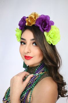 Excited to share this item from my #etsy shop: Mardi Gras Flower Crown New Orleans Crown Mardi Gras Bachelorette Purple Green Gold Headband New Orleans Photo Shoot NOLA Boho Mardi Gras