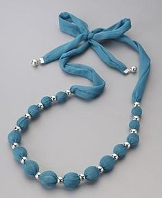 Mood by Jon Richard Fabric Wrapped Beaded Necklace/ We used to make these with marbles inside.