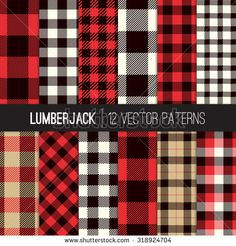 Lumberjack Plaid and Buffalo Check Patterns. Red, Black, White and Khaki Plaid, Tartan and Gingham Patterns. Vector EPS File Pattern Swatches made with Global Colors. Plaid Christmas, Christmas Crafts, Christmas Decorations, Christmas 2017, Country Christmas, White Coverlet, Plaid Decor, Buffalo Check, Buffalo Print