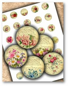 Vintage Roses 1 inch Circles DOWNLOAD